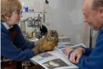 Vet David examines the owl as Pat holds it tight (Gloves an essential item)